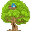 Big tree with blue bird in nest — Stock Photo