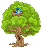 Big tree with blue bird in nest — Stockfoto