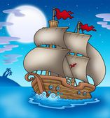 Stará loď, plující mořem v noci — Stock fotografie