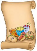 Parchment with various cartoon meals — Stock Photo