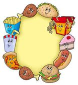 Various cartoon food frame — Stock Photo