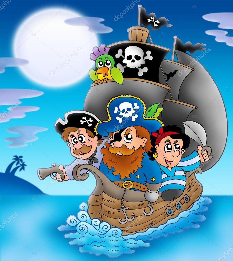 Sailboat With Cartoon Pirates