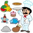 Stock Vector: Cartoon chef with various meals