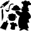 Stock Vector: Chef silhouettes collection