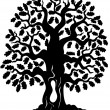 Vector de stock : Oak tree silhouette