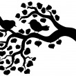 Silhouette of branch with birds — Stockvectorbeeld