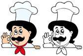 Lurking cartoon chef — Stock Vector