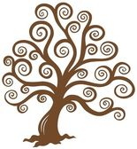 Stylized brown tree silhouette — Stock Vector