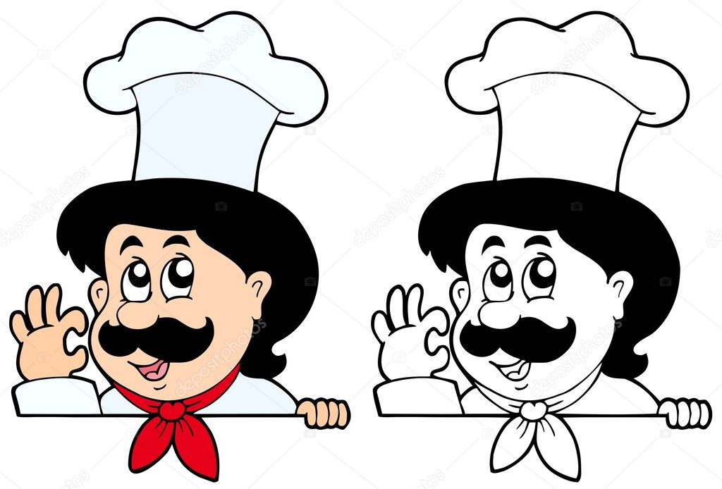 Lurking cartoon chef - vector illustration. — Stock Vector #2558294