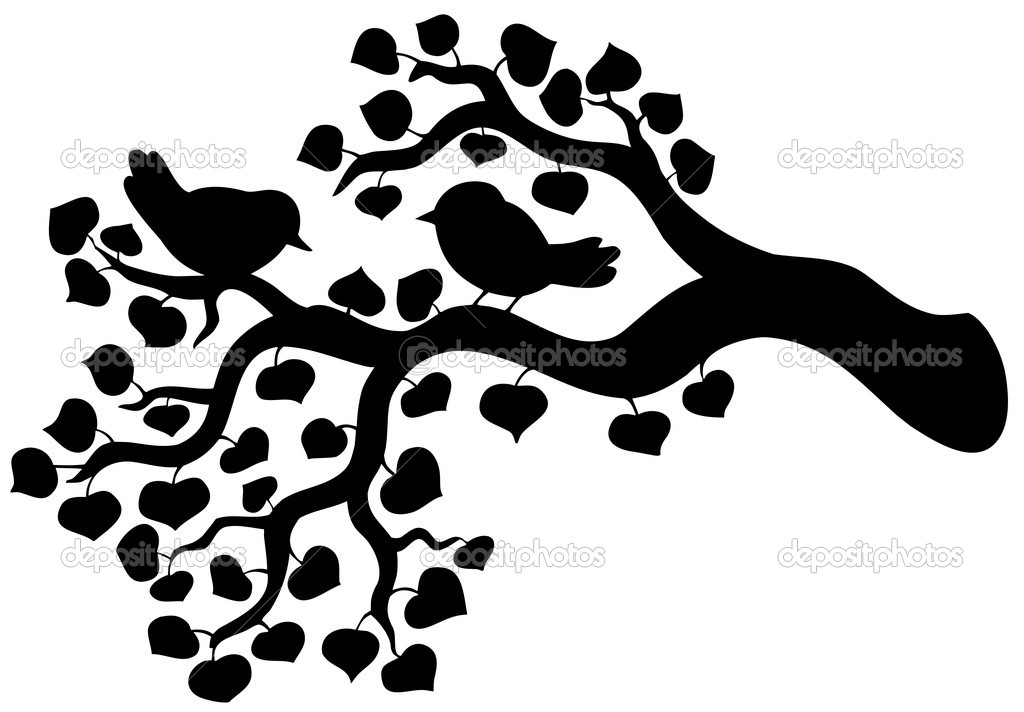 Silhouette of branch with birds - vector illustration. — Stock Vector #2558390