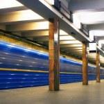 Move train in subway — Stock Photo