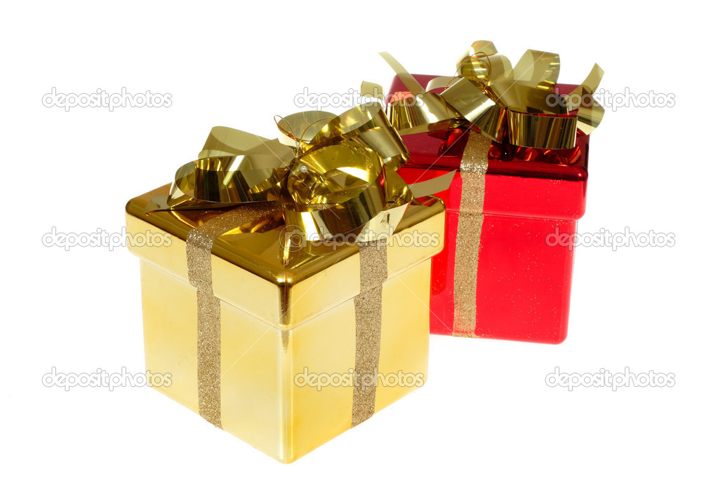 Christmas gift box photo on the white background — Stock Photo #1909867
