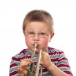 Boy Blowing Trumpet — Stock Photo #1911823