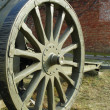 The wheel of old cannon — Foto Stock