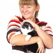 Girl with the cat — Stock Photo