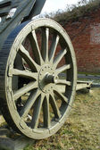 The wheel of old cannon — Stock Photo