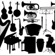 Stock Vector: Set music instrument