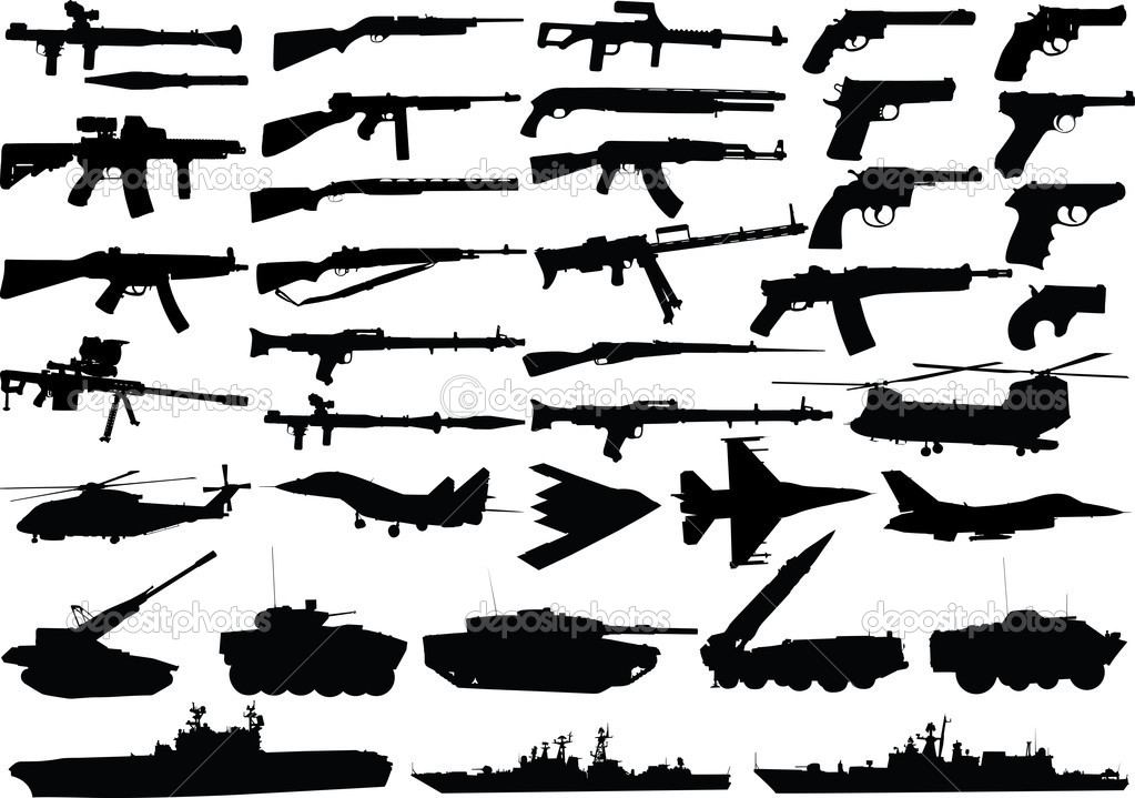 Military clipart set, vector of high quality — Stock Vector #2551478