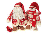 Santa Claus and Smiling snowman doll — Stock Photo