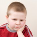 Small boy portrait, thoughtful — Stock Photo