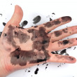 Dirty smeared with ink hand — Stock Photo