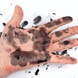 Dirty smeared with ink hand — Foto de Stock