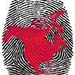 North America-fingerprint — Vector de stock