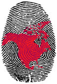 North America-fingerprint — Stock Vector