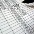 Spreadsheet, financial data analysis,pen — Stock Photo #1862656