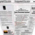 Newspaper headlines, jobs advertising — Stock Photo
