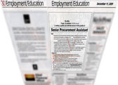 Newspaper headlines, jobs advertising — Stock Photo
