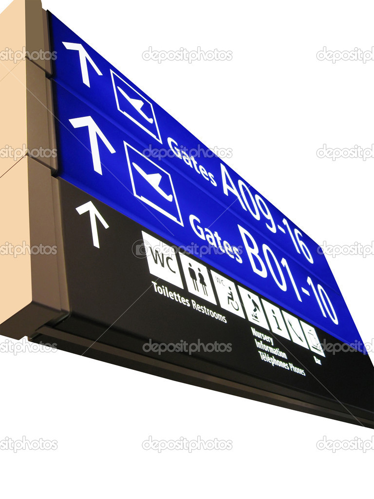 The new airport gate board (blue color) sign showing the aeroplane boarding direction, gate numbers (gateway) for boarding. isolated on white background  Stock Photo #1966635