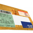 Single yellow mail package,envelope — Stock Photo