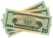 Heap of twenty dollars isolated on white — Stock Photo
