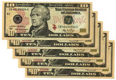 Heap of ten dollars isolated on white, s — Stock Photo