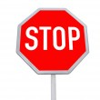 Stop road sign, red color, isolated — Stock Photo
