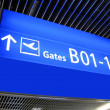 Stock Photo: Airport gate sign, flight boarding