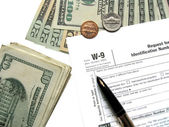 Money tax for W-9 Revenue Tax form — Stock Photo