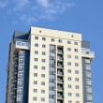 New urban modern yellow grey building — Stock Photo
