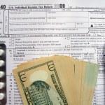 W-9 revenue tax form filling, black pen — Stock Photo