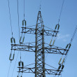 Electrical powerlines, electricity pylon — Stock Photo
