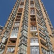 New high building, red brick, satellites — Stok Fotoğraf #2097612