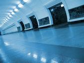 Nobody, perspective fluorescent subway — Stock Photo