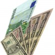 Heap, different dollars, euros isolated — Stock Photo #2184018