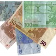 Stock Photo: Different colourful euros isolated, savi