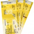 Few grunge yellow train tickets isolated — Stock Photo