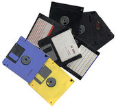 Pile of vintage floppy computer disks — Stock Photo