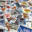 Royalty-Free Stock Photo: Pile of different colorful post stamps