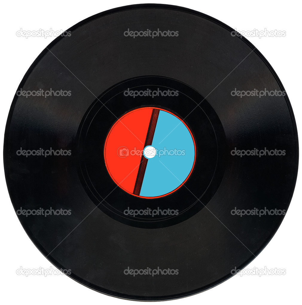 Single old retro vynil 78rpm audio record with scratches, red and blue label, clipping path for gramophone. Coal. vintage music concept  Stock Photo #2504936