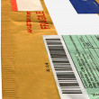 Single yellow mail package envelope — Stock Photo